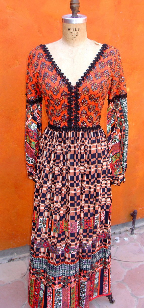 Vintage 70s MOD Hippie Patchwork Floral Paisley MAXI Boho Gypsy DRESS. Festival. Ethnic
