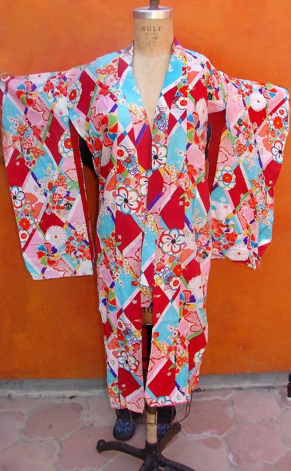 Vintage 40s 50s Geisha Floral Kimono Dress Robe. Peignoir. Pin up. Burlesque. Rockabilly. Asian Boho
