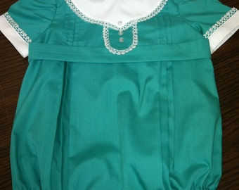 Vintage Boy Bubble belted with tatting  size 6 - mo.
