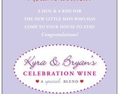 New Baby Wine Label 1 Set, Front AND Back labels - 'A Hug & A Kiss', New Mother or Shower Gift
