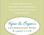 New Baby Wine Label 1 Set, Front AND Back labels - 'Welcome Joy 2', New Mother or Shower Gift