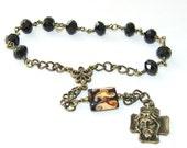 Crown of Thorns Chaplet, Black Crystal & Brass