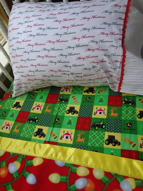John Deere Crib or Toddler Bed Christmas sheet fuzzy blanket