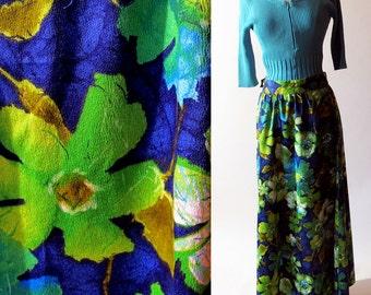 Vintage Maxi Skirt / Cotton Flower Skirt, 60s Green Blue Skirt
