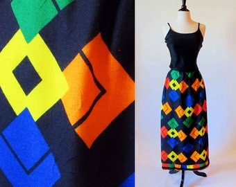 Vintage 60s Maxi Skirt, Graphic  Long Skirt, Primary Color Skirt