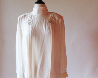 Vintage Ivory Blouse, 80s Sequin Top, Long Sleeve Blouse
