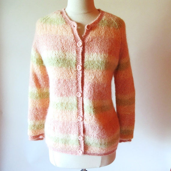 Vintage Cardigan Sweater, 60s Pastel Sweater, Handmade in Italy