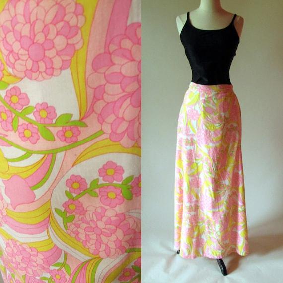 Vintage 60s Skirt, Pink Flower Print Skirt, Cotton Maxi Skirt