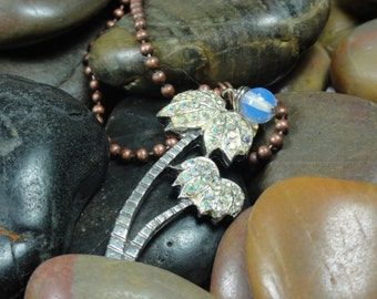 NECKLACE  - Vintage Crystal Palm Tree Moonstone Gemstone Copper Chain Jewelry Pendant Necklace - Free Shipping