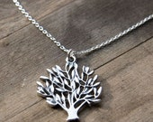 Tree of Life Necklace / Rustic Solid Sterling Silver Necklace / Nature Inspired Jewelry