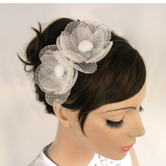 Organza Camellia Flower Bridal Headpiece: Headband Fascinator, Polka Dot Tulle. Handmade