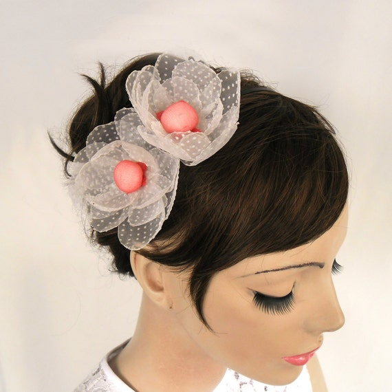 Weddings Headband Fascinator with Organza Fabric Camellia Flower: Polka Dot Tulle Hair Charm in White Pink. Handmade