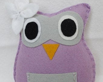 Woodland Owl Tooth Fairy Pillow-lavender and light gray, girls tooth fairy pillow