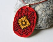 Modern necklace abstract poppy red black lemon yellow felt