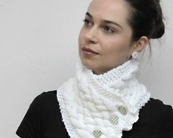 White Scarf Hand Knitted Neck Warmer/ Cowl/ Wool Scarf, Hand Knit Accessories by Solandia. Heartshaped. Winter Women Fashion