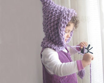 Knitted Elf Hat Bulky Pixie Hat Pointed Wool Winter Children Hat ELFICA by Solandia Christmas Gift Children