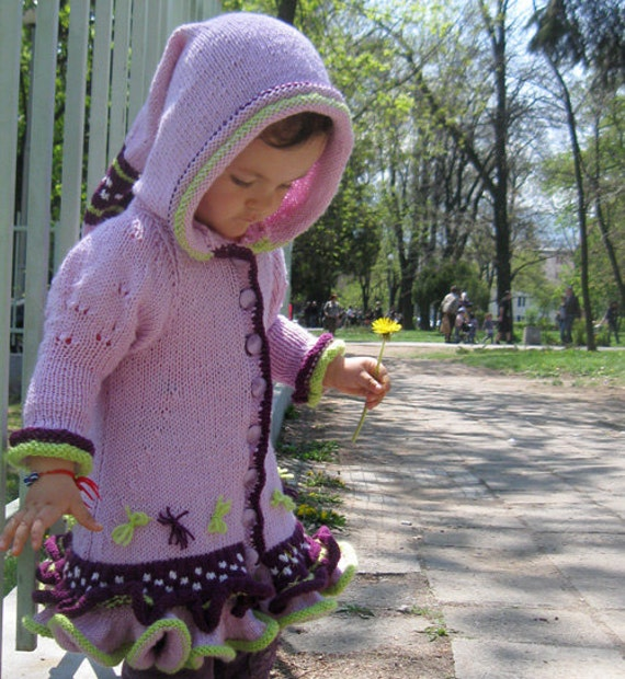 Cardigan for Children/ Wool Sweater/ Cardigan for Girl 2 to 3 years, Children Sweater, Hoodie Cardigan, Ruffles, Violet by Solandia