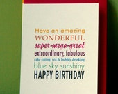 birthday card, wonderful day, multifont, multicolour message