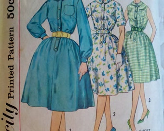 60s Vintage Women's Sewing Pattern Mad Men Swing Skirt Dress Simplicity 3870 Bust 32""