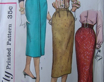 Fabulous Vintage 50's Simplicity Pattern STRAIGHT SKIRT