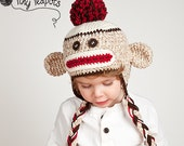 Classic Sock Monkey Hat, Boys Hat, Girls Hat