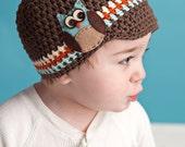 Boy Hat, Owl Visor Beanie, Owl Newsboy Hat
