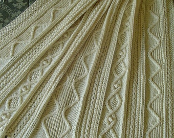 Aran Knit Afghan, Gift for Him Handknit Afghan, Sale Price on Afghan, INTERESTING Pattern, Christmas Gift, Housewarming Gift, Handmade