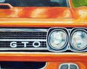 Orange G.T.O. oil painting, classic car hot rod art