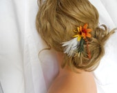 Orange Hair Flower Wedding Favors For Your Bridal Party 6 Pc