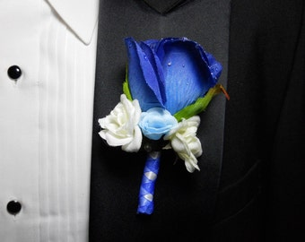 Blue Wedding Bouquets Boutonnieres Hair Combs Package With Blue And  White Flower Roses