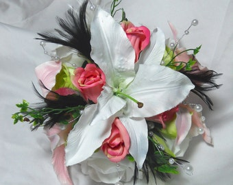 Wedding Bouquet And Boutonniere Bridal Package Tropical Pink And Green Lillies With Roses