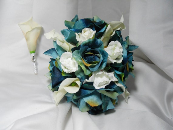 Blue Wedding Bouquet With White Roses And Calla Lillies Bridal Package Including Grooms Boutonniere Wedding Sale