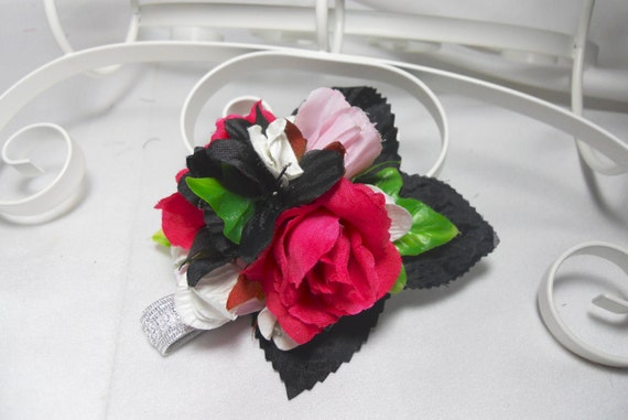 Bachelorette Party Corsage With Black And Hot Pink Roses For Prom Formal Weddings