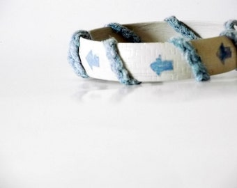 Blue arrow bracelet, sale, denim bangle, blue pastel bracelet, my way bracelet, shabby chic bangle, crochet bracelet