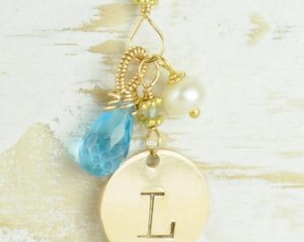 Personalized Initial Jewelry, Custom Birthstone Initial Jewelry, Birthstone Mothers Jewelry, Custom Mothers Jewelry, Initial Necklaces
