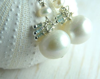 White Pearl Cluster Pearl Earrings/ White Pearl Earring with Cluster Blue Gemstone/ Wedding Cluster Earrings