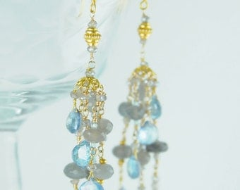 Fine Jewelry Handcrafted by Lillyputlanedesignco on Etsy, Statement Bridal Earrings in Sky Blue Topaz and 18K Gold, Fine Jewelry Handcrafted