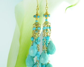 Fine Jewelry/ Turquoise Jewelry/Sleeping Beauty Turquoise Statement Earrings Layered in 22K gold:) Bridal Collection