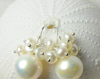 Bridesmaid Pearl Earring Gift  SET OF 3/ Bridesmaid Cluster Pearl Earrings/Matron of Honor Ideas