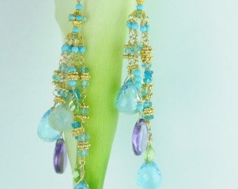 Fine Jewelry/ Weddings, Colorful Bridal Earrings, Cascading Colorful Bride