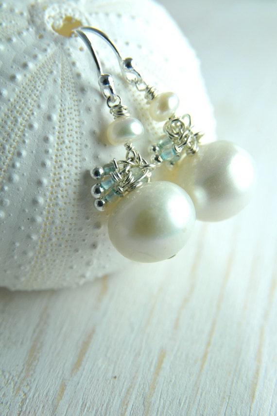 White Pearl Cluster Pearl Earrings/ White Pearl Earring with Cluster Blue Gemstone/ Wedding Cluster Earrings