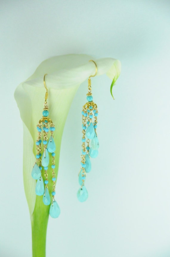 Gold Turquoise and Gold Statement Earrings, Bridal Turquoise Earrings, Bridal Statement Earrings