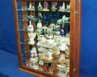 Cherry Wall Curio Cabinet Tabletop Display