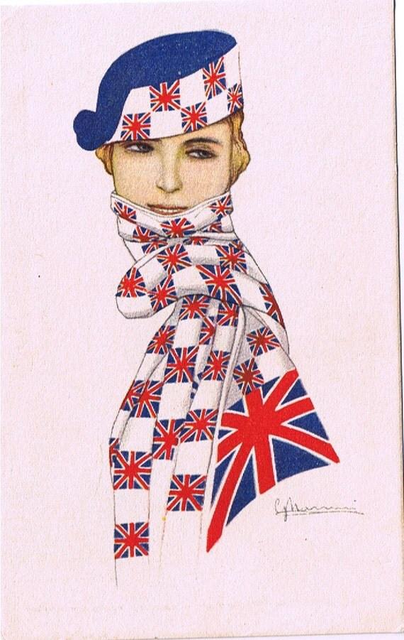 British Flag - Union Jack Scarf - English Mascot Beauty - VTG Glamour PC by Nanni ca1917