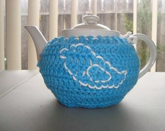 Crocheted Turquoise Tea Cozy with White Bird Embellishment