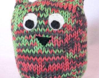 Stuffed Owl Toy, Handknit Owl, Pink Green and Gray Owl, Multicolored Handknit Stuffed Owl
