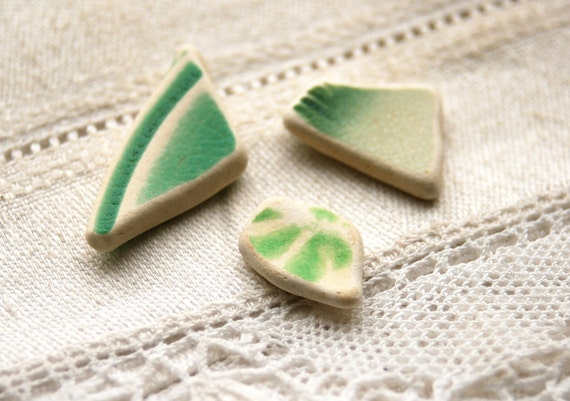3 small pieces of spring green sea pottery