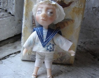 "OOAK Art Doll ""The Dream"". Art Doll Boy. Gift for him. Sailor Doll. Nautical style."