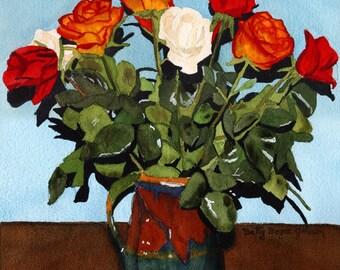 Jug of Roses watercolour painting