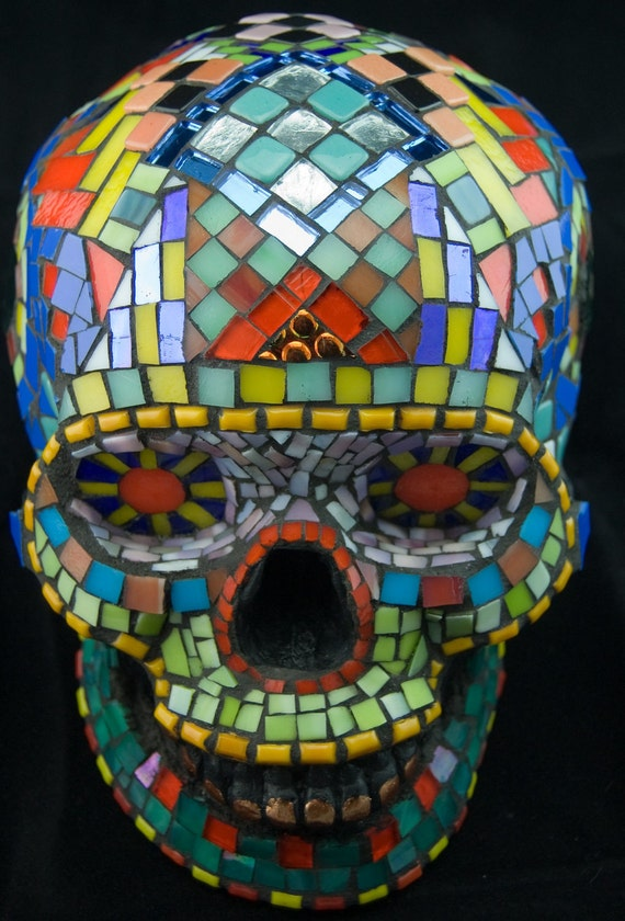Mosaic Sugar Skull, Dia de los Muertos, Stained Glass, Life-size